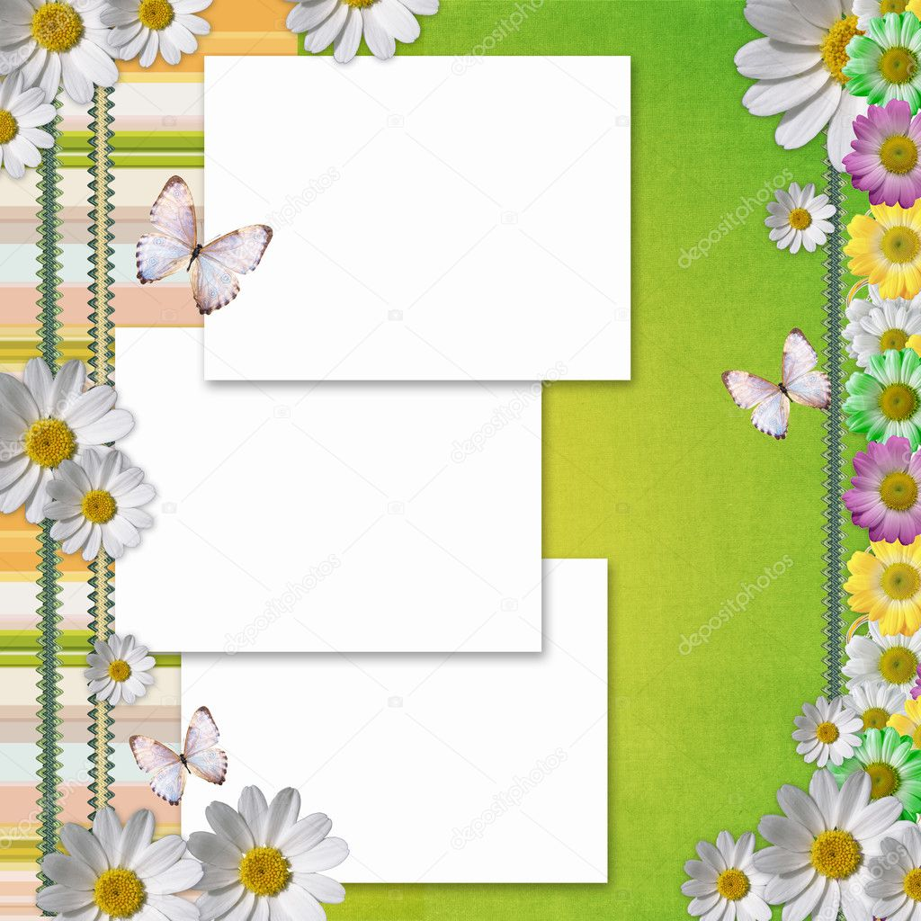 Card for the holiday with  chamomile flowers — Stok fotoğraf #5462667