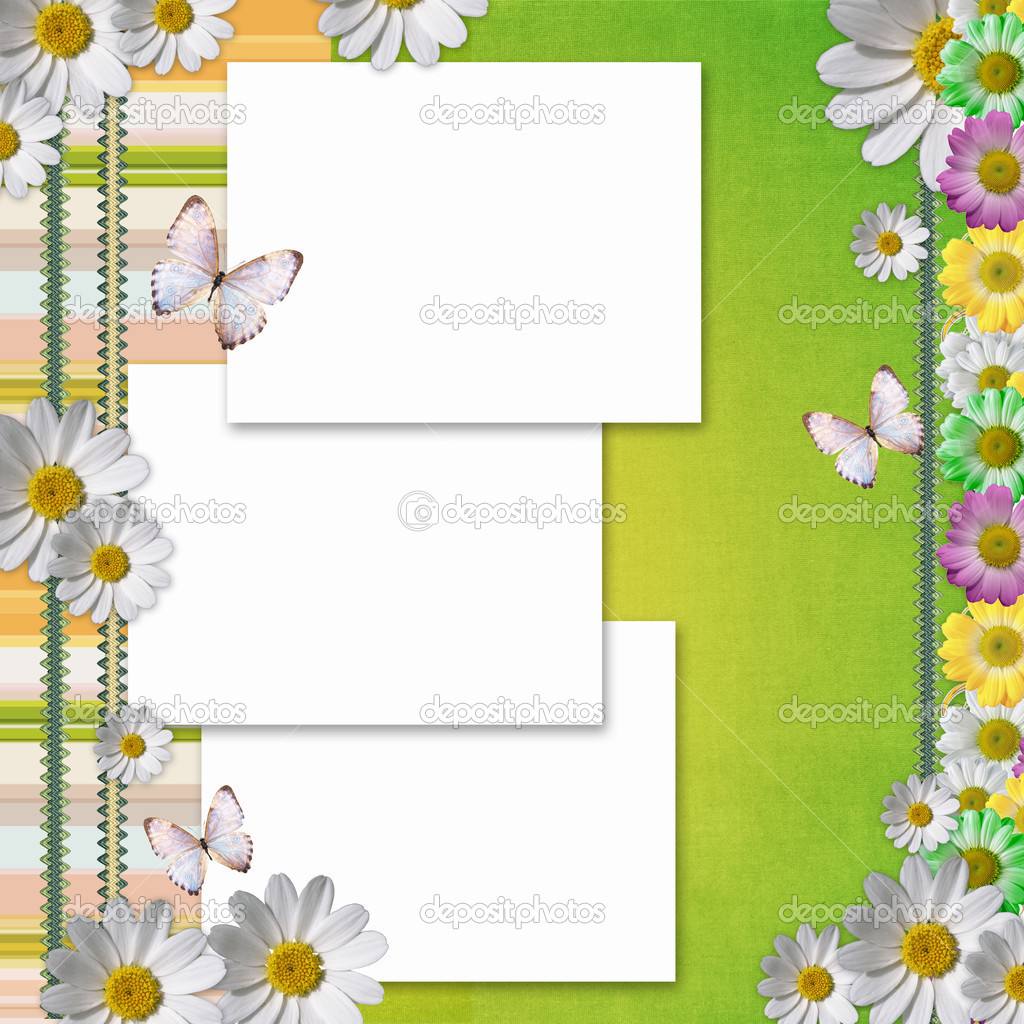 Card for the holiday with  chamomile flowers — Lizenzfreies Foto #5462667