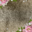 Vintage beige background with pink roses, pearls and lace — Stock Photo #5475633