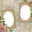 Vintage frames over grunge beige background — Stock Photo