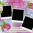 Vintage background with frames for photos, flowers, lace — Stock Photo #5475771