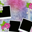 Vintage background with frames for photos, flowers, lace — Stock Photo #5475773