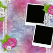 Vintage background with frames for photos, flowers, lace — Stock Photo #5475776