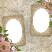 Vintage frames over grunge beige background — Stock Photo