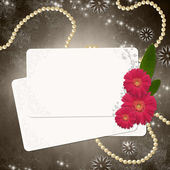 Greeting card over grunge brown background — Stock Photo
