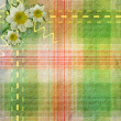 Summer plaid background with flowers - Stock Photo
