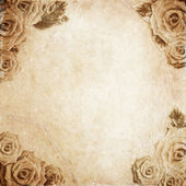 Old grunge background with roses — Stock Photo
