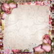 Pink and purple vintage  background with dried roses — Stock Photo