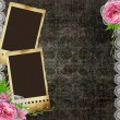 Vintage background with frames for photos and flowers — Stock Photo