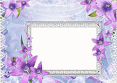 Beautiful frame with purple flowers — Stock Photo