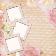 Vintage card with roses in pink and beige colors — Stock Photo