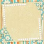 Kids card in scrapbook style in beige, cyan, orange — Stock Photo