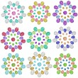 Set of 9 flower diamond jewel on white background — Stock Photo