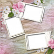 Paper background with stamp-frames and flowers — Stock Photo #6021660