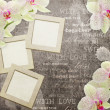 Vintage card with orchids in pink and beige colors — Stock Photo