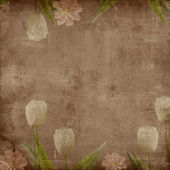 Brown grunge cover for an album with tulips — Stock fotografie