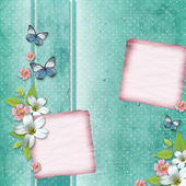 Card with flowers and butterfly for congratulation to holiday — Stok fotoğraf