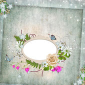 Frame for photo with rose, leaf and butterfly — Stock Photo
