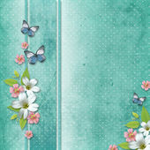 Card with flowers and butterfly for congratulation to holiday — Stock Photo