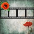 Grunge poppies background with frame — Stock Photo
