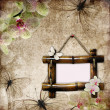 Stock Photo: Vintage background with bamboo frame, orchids and butterfly