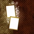 Golden frame over vintage striped wallpaper and floral elements — Stock Photo