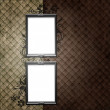 Silver frame over vintage striped wallpaper and floral elements — 图库照片
