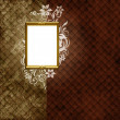 Golden frame over vintage striped wallpaper - Foto Stock