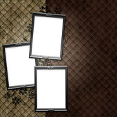 Silver frame over vintage striped wallpaper and floral elements — Stock Photo