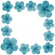Blue flowers frame with blank space — Stock Photo