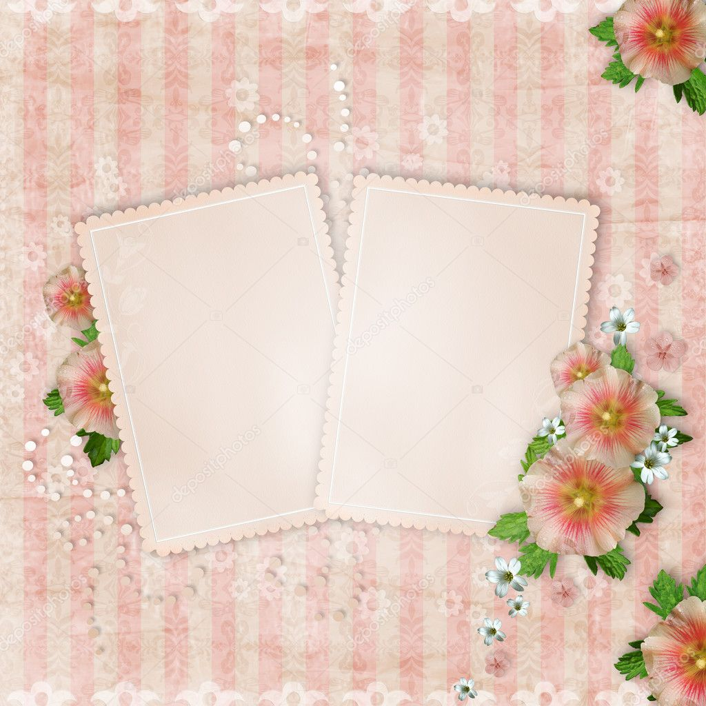 Vintage card   and pink mallow on retro striped background  Stok fotoraf #6221468