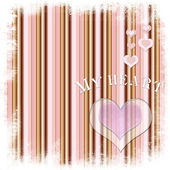 Valentine card with heart on striped background — Stock Photo