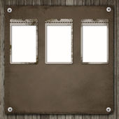 Three Old paper frame over an old wood background — Stock Photo