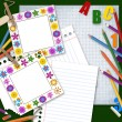 Two frames, paper and pencils, back to school background — Stock Photo #6296601