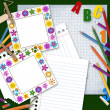Two frames, paper and pencils, back to school background — Stock Photo