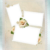 Vintage background with stamp frames, beige roses and lace — Stock Photo