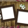 Two wooden photo frames over grunge wood background — Stock Photo