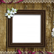 Wooden photo frame over grunge wood background — Stock Photo