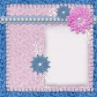 Scrapbook layout in blue and pink colors with paper, pearls and - Foto de Stock