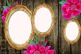 Vintage papier frames over grunge hout achtergrond — Stockfoto