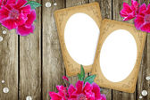 Vintage paper frames over grunge wood background — Stock Photo