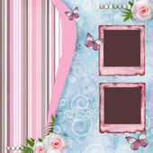 Beautyful album page in scrapbook style with paper frames for — Stock Photo