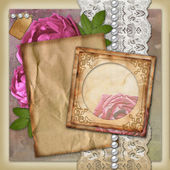 Vintage paper frame on vintage background — 图库照片