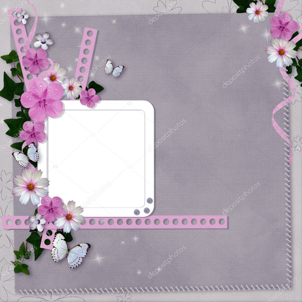 Card with flowers and butterfly for congratulation to holiday  — Stock Photo #6589097