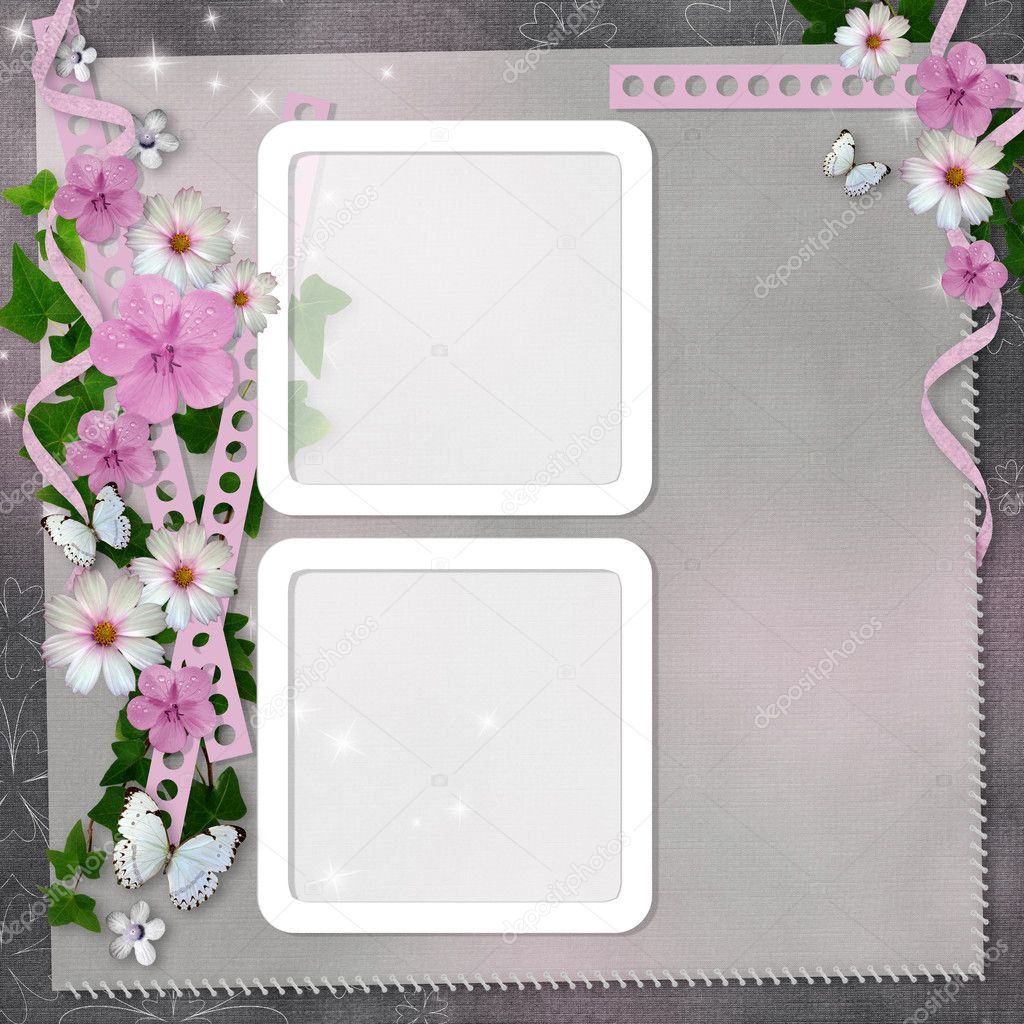 Card with flowers and butterfly for congratulation to holiday  — Stock Photo #6589203