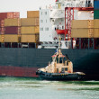 The small tugboat accentuates the size of the large container sh — Stockfoto