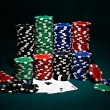 Chips for poker with pair of aces - Stock Photo