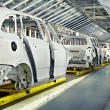 Stock Photo: Cars in a row at car plant