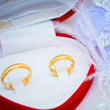 Golden wedding rings in a box — Stock Photo