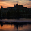 Prague Castle silhouette at sunset light — Stock Photo #5815216